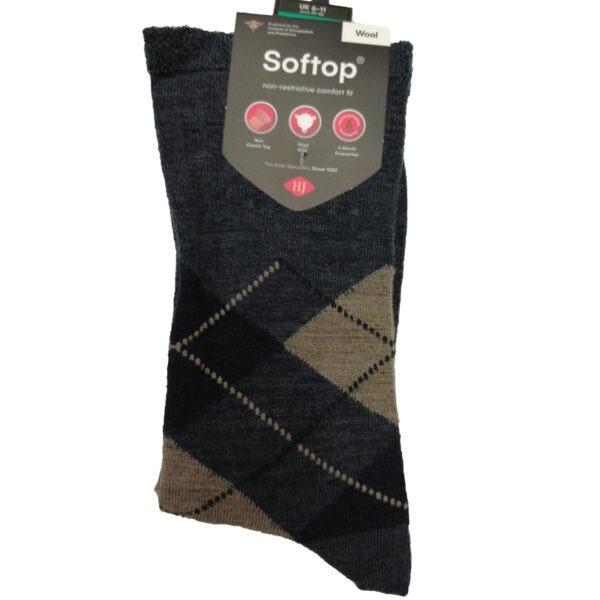 Wool-Soft-Top-Sock-Blue-Diamond